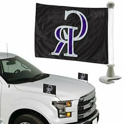 Colorado Rockies 2-Pack Ambassador Style Auto Flag Car Banne