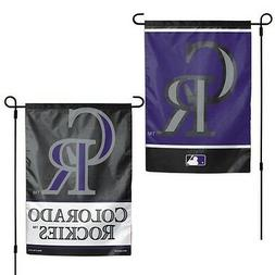 """COLORADO ROCKIES 2 SIDED GARDEN FLAG 12""""X18"""" YARD BANNER OUT"""