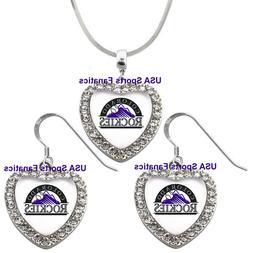 Colorado Rockies 925 Necklace / Earrings or Set Team Heart W
