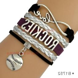 Colorado Rockies Leather Baseball Bracelet Charm Quality Fas