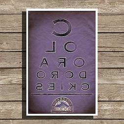 Colorado Rockies Gift Art Baseball MLB Eyechart Poster Man C