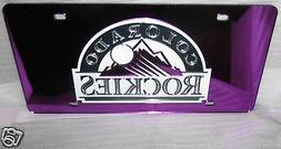 Colorado Rockies  LICENSE PLATE  LASER MIRROR Purple Lets be