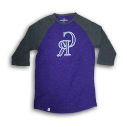 Colorado Rockies Men's Majestic Gray/Purple 3/4's Sleeve T-s
