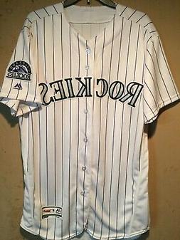 Colorado Rockies MLB Majestic Authentic Flex Base Pinstripe