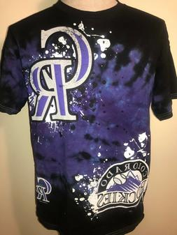 Colorado Rockies Tie Dye Black Purple MLB S/S T Shirt Size M