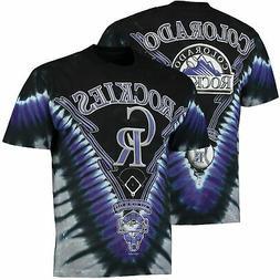 Colorado Rockies V Tie-Dye T-Shirt - Black/Gray