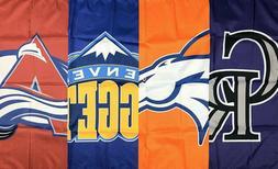 Denver Broncos Nuggets Colorado Rockies Avalanche Flag 3x5 f