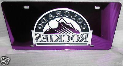 colorado rockies license plate laser mirror purple