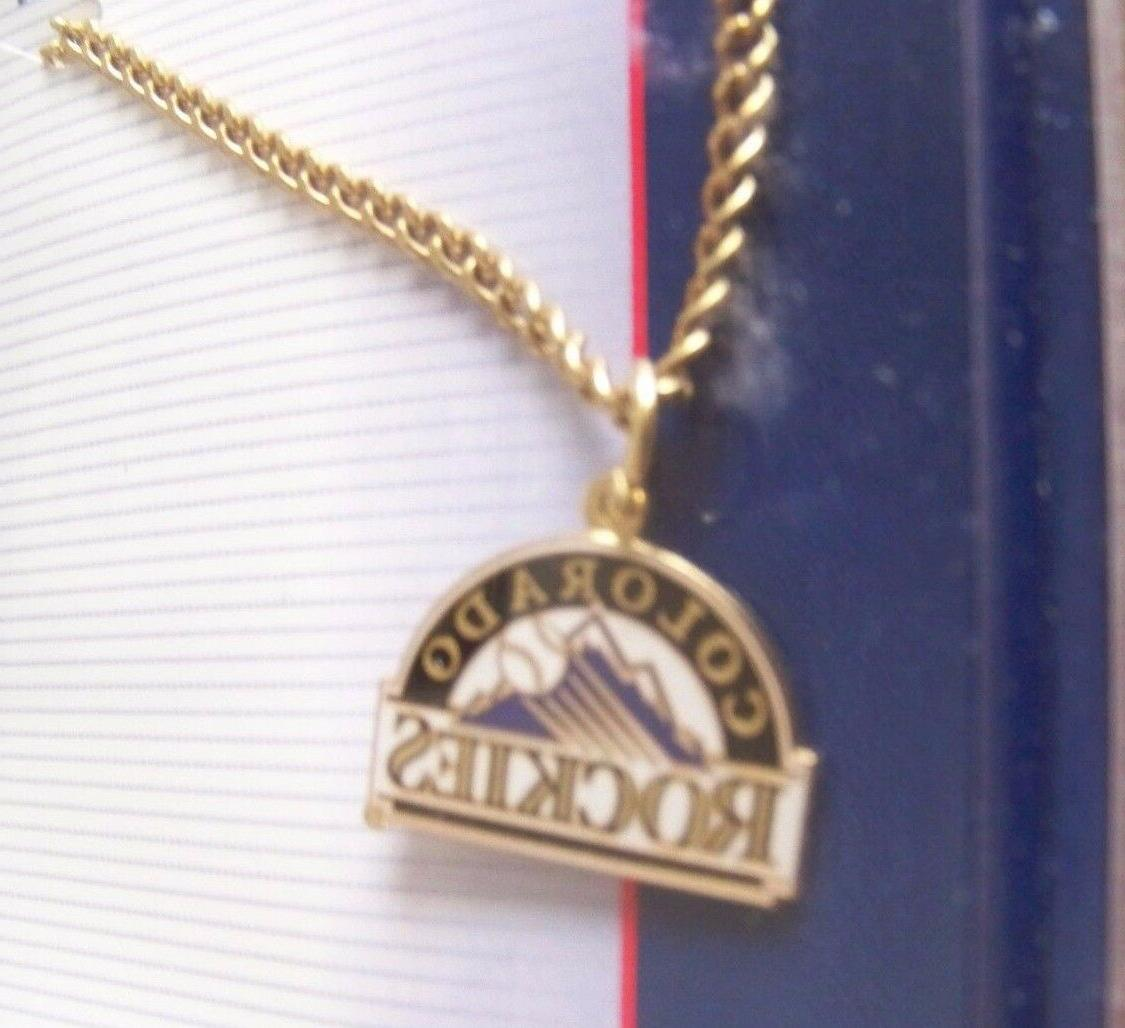 colorado rockies primary logo gold tone necklace