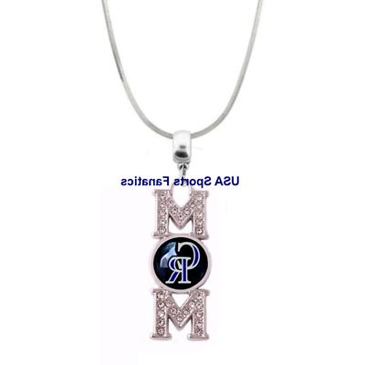 mlb colorado rockies mom necklace with rhinestones