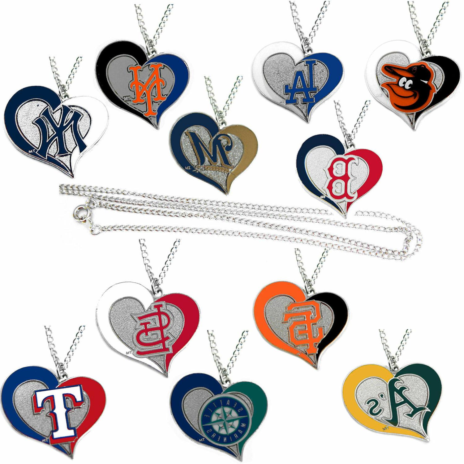 mlb swirl heart necklace pick your team