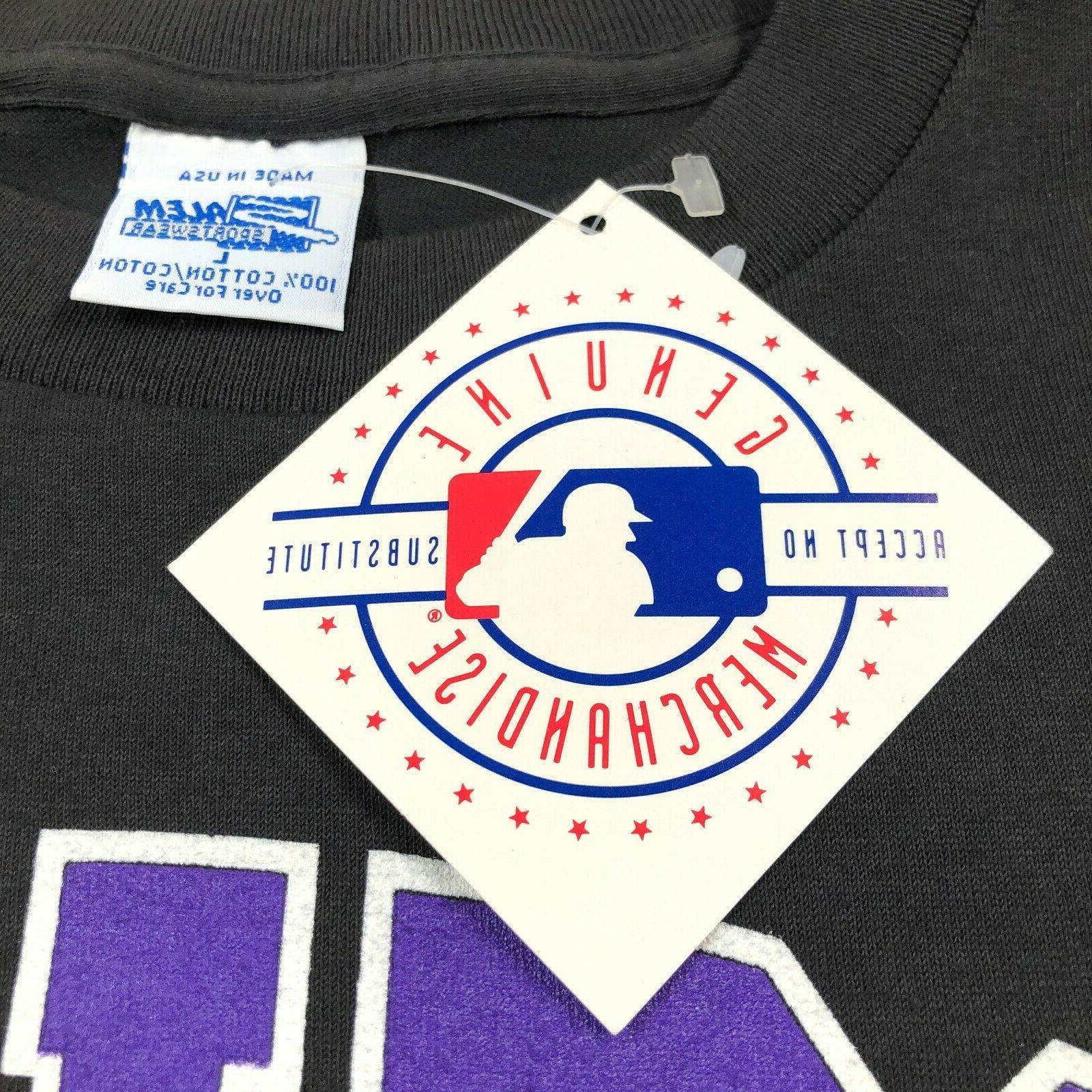 Vintage 1992 NWT Colorado Rockies Black Purple Stitch Shirt