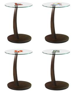 MLB Accent Sofa End Table Espresso Base and Glass Top with B