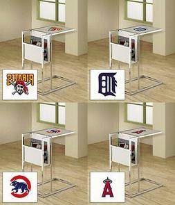 MLB Frosted Glass and Chrome TV Tray Magazine Rack Glass She
