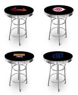 MLB Bar Table Black and Chrome w/Team Logo Vinyl Decal and a