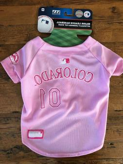 NEW Colorado Rockies Pet Baseball Jersey Pink MLB Outfit Cos