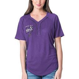 Women's New Era Purple Colorado Rockies Henley Mesh Jersey T