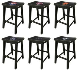 "WOOD BAR STOOL BLACK FINISH WITH MLB TEAM LOGO DECAL  24"" OR"