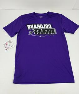 Youth Colorado Rockies T-Shirt Size Medium 10/12 Purple Poly